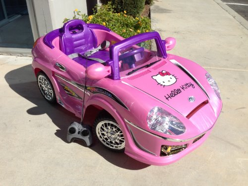 Pink Cute Kitty Kids Ride on Toy Car with Remote Control + FREE Custom Name Decal on License Plate
