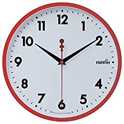 Hippih 10 Silent Quartz Decorative Wall Clock with Glass Cover Non-ticking Digital,2315-C