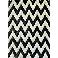 Chevron Shag Area Rug Design Masada #2403B2 Grey And Off White