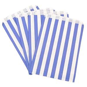 "100 Blue Candy Stripe Paper Bags 125mm x 175mm - 5"" x 7"""