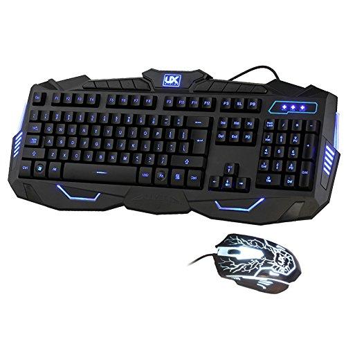 Ergonomico Tre colori regolabile luminoso con Viola Rosso Blu Gaming Keyboard tastiera and Mouse Combo Set per Windows 98 / XP / 2000 / ME / VISTA / Win7 / Win8