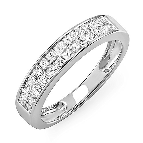 For sale 0.85 Carat (ctw) 14k White Gold Princess Diamond Invisible Set Ladies Anniversary Wedding Band Ring (Size 7)