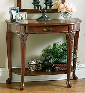 Amazon.com : Cherry Hallway Table w Ornamental Fan Wood Inset ...