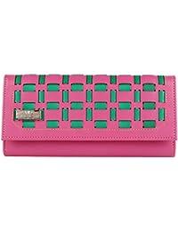 Quenchy London Mesh Women's Clutch Purse Women Wallet (Pink,Green) (1603_PINK)