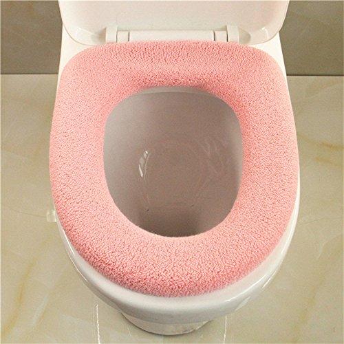 Sedile per wc o tipo universale maglia solido colore cover-Super caldo pile-Anello di tenuta, universale, lavabile in lavatrice, confezione da 2 Pink