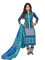 PShopee Blue & White Karachi Cotton Printed Unstitched Salwar Dress Material
