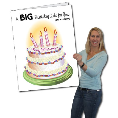 2'x3' Giant Birthday Cake Birthday Card W/Envelope