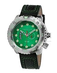 Android DM Gauge AD628BGR 55MM GMT Swiss Quartz Analog Green Dial Men's Black Leather Watch