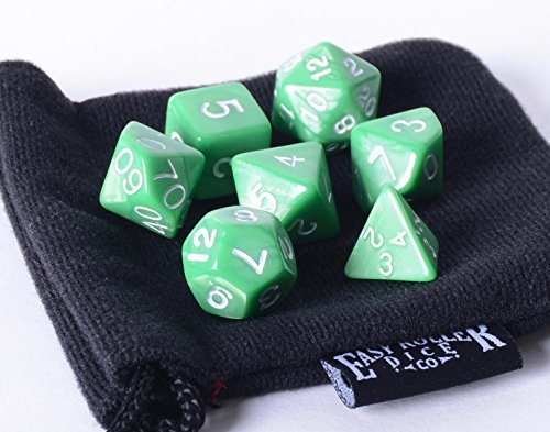 Green Opaque (solid) Polyhedral Dice Set | 7 Piece | PRISTINE Edition | FREE Carrying Bag | Hand Checked Quality With | Money Back Guarantee