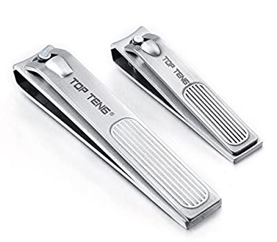 TOP TENG® Deluxe Brushed Stainless Steel Sharpest Nail Clippers Set in Gift Box | Fingernail + Toenail Clippers Set | Perfect Nail Cutter for Men & Women - Makes a Great Gift
