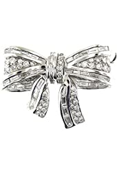 2.02 Ct White Gold Diamond Bow Tie Brooch Pin 18 Kt