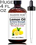 Majestic Pure Lemon Essential Oil - 4 Oz, Premium Quality 100% Natural and Pure 5x Strength Lemon Oil - Cold Pressed from Rinds of Real Lemons - Aromatherapy, Health & Many Household Uses and Benefits