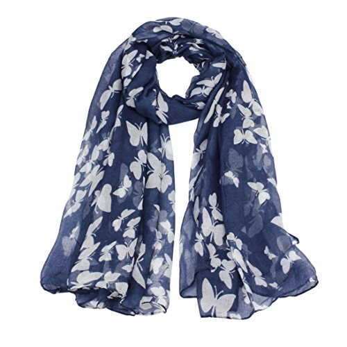 Bestpriceam Women Lady Chiffon Butterfly Print Neck Shawl Scarf Scarves Wrap Stole (Navy)