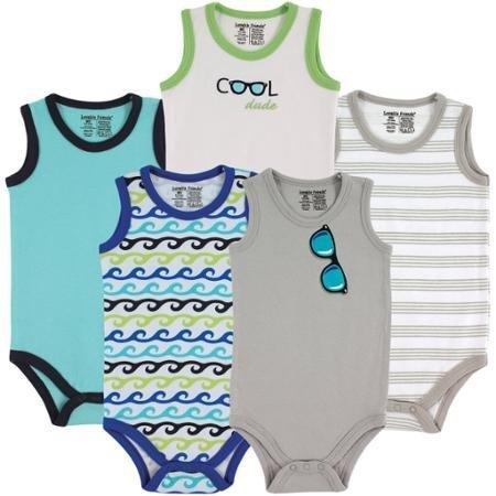 Luvable Friends Newborn Baby Boys Sleeveless Bodysuit 5-Pack Boy Sunglasses WLM