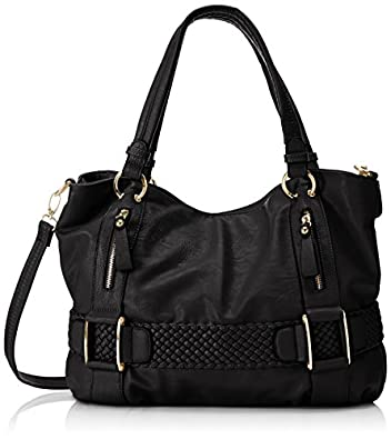 MG Collection Samantha Weave Belt Hobo Bag, Black, One Size