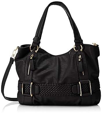 MG Collection Samantha Weave Belt Hobo Handbag, Black, One Size