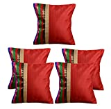 meSleep Red Stripe Brocade Cushion Cover - Set of 5