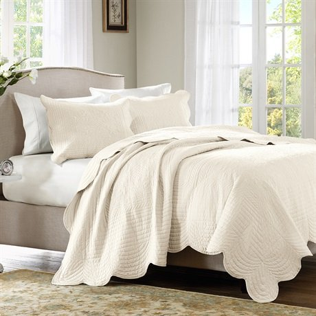 Buy Discount Home Essence Tuscany 3 Piece Coverlet Set - Ivory - King