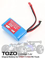 TOZO 7.4V 1100mAh Battery for C1021 / C 1022 RC CAR High Speed 32MPH 4x4 Off Road Truck Powersport Roadster ( 1pcs )