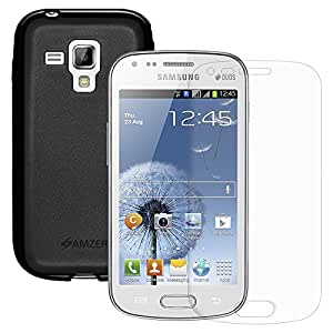 Amzer® Pudding TPU Case - Black with KristalTM Screen Protector For Samsung Galaxy S Duos S7562