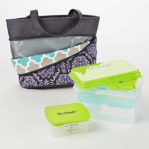 Fit & Fresh Reversible Bag Kit with Lunch on the Go (Aqua Ikat Tile/Purple Gray Damask) - 1