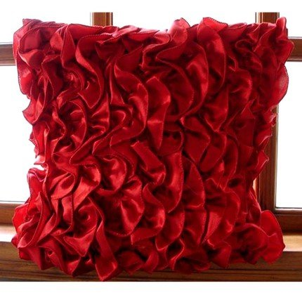 Vintage Reds - 16X16 Inches Square Decorative Throw Red Satin Pillow Covers With Satin Ruffles front-485906