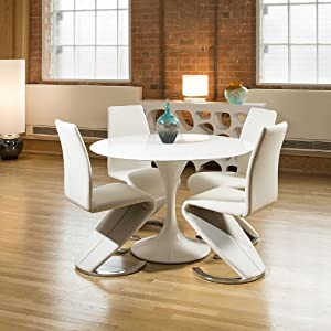 Tulip style round dining table white gloss 4 white z for Z shaped dining room chairs