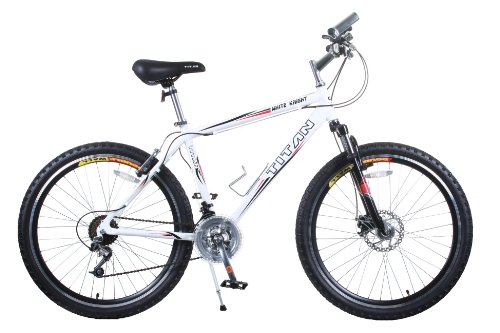Titan White Knight 21-Speed All-Terrain Mountain Bike, White, 18-Inch Frame