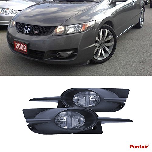 Pentair 2pcs Aftermarket JDM Clear Lens Fog Lights Kit With Light Bulbs+Switch+Wiring Harness+Relay+Bracket & Necessary Mounting Hardware For 2009-2011 Honda Civic 2-Door Coupe (Relay Mounting Bracket compare prices)