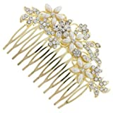 Bridal Wedding Accessory - Pretty Gold Floral Bridal Hair Comb - Free Gift Pouch / Box