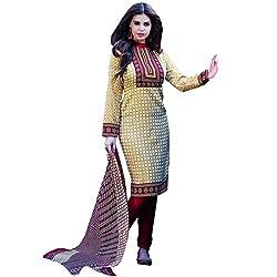 Shelina Women Cream Cotton Printed Salwar Suit
