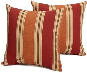 Strathwood 14-by-14-Inch Spun Polyester Pillow, Set of 2, Striped Landry Pumpkin