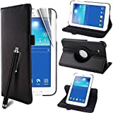 Multi Function Samsung Galaxy Tab 3 Lite 7.0 (T110/T111) Case PU Leather Multi Angle 360 Degree Rotating Smart Case Cover with Auto Sleep/Wake Feature for Samsung Galaxy Tab 3 Lite 7 inch Tablet SM-T110£¨Not for P3200£© + Screen Protector + Stylus Pen (Color Black)