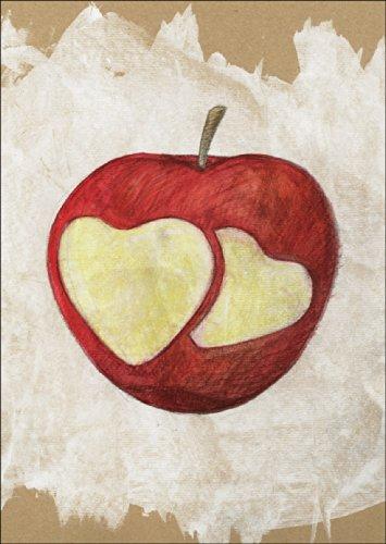Verschicken Sie eine knackige Liebeserklärung mit der Liebes Apfel/ Herzapfel Karte • auch zum direkt Versenden mit ihrem persönlichen Text als Einleger.