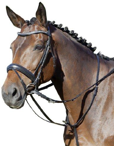 USG tedesco Olimpico Martingala con finiture argento, regolabile collo al seno e cinture, in pelle, colore: nero