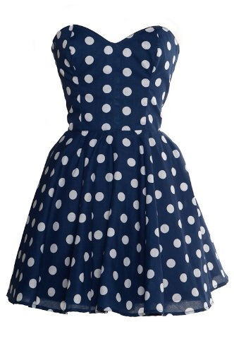 Pin-Up Blue Polka Dot Prom Party Dress UK 4 6 8 10 12 14