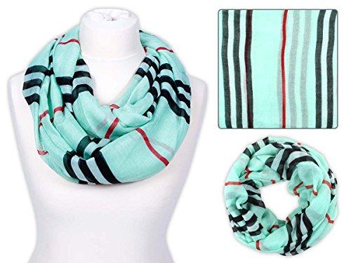 Sciarpa a tubo circolare, foulard da donna leggero e morbido estate primavera autunno inverno loop anello ragazze colorati stola accessorio moderno lifestyle , SCH-401.405.427:SCH-443e menta