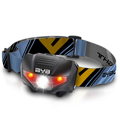 BYB Super Bright LED Headlamp Flashlight with 2 Red Lights