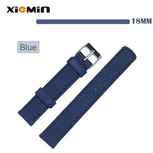 XIEMIN® 18MM Fabric Nylon Leather Watch Band/ Strap Watchband for Asus Zenwatch 2nd, Huawei Watch, Withings Activit¨¦ Pop, Regular Replacement Strap 18mm-band(Blue)