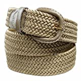 Beige Braided Elastic Stretch Belt