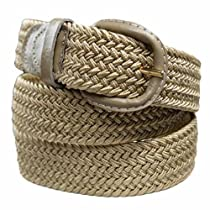 Beige Braided Elastic Stretch Belt Size Large