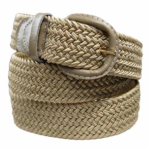 Luxury Divas Beige Braided Elastic Stretch Belt Size Medium