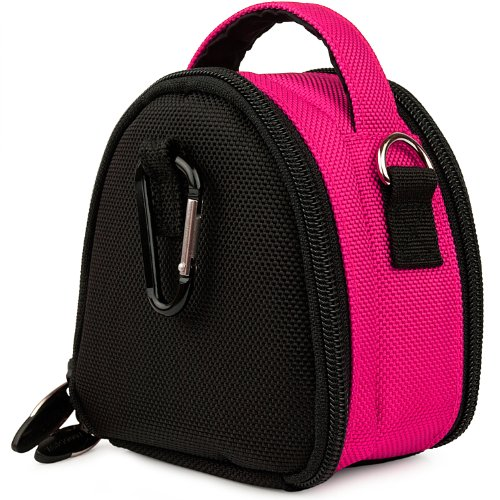 Hot Pink Limited Edition Camera Bag Carrying Case with Extra Accessory Compartment for Nikon Coolpix L24 P300 S70 S80 STYLE S100 S1100pj S1200pj S2500 S3100 S4100 S5100 S6100 S6200 S8100 S8200 S9100 Point and Shoot Digital Camera + Includes Grey 6 Inch Mini Tripod