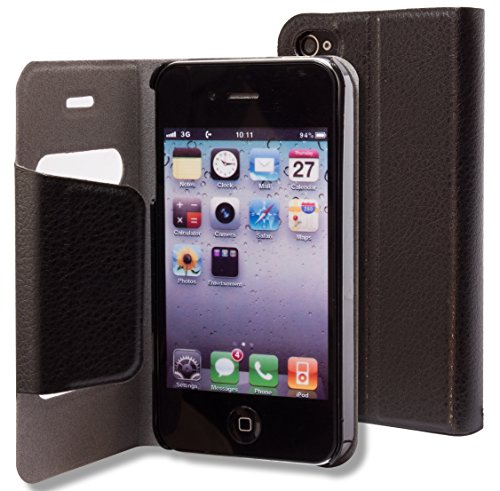 iPhone 4, 4s, 4gs Case – Bastex Leather Wallet for Apple iPhone 4, 4g, 4s 4gs – Solid Black Flip Cover image