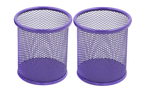 gloednApple 2 PCS Round Steel Mesh Pen Pencil Cup Desk Organizer Holder for Home Office, Makeup Brushes etc. Purple