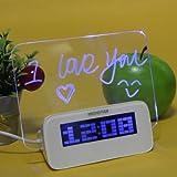Meiego Highstar USB HUB (4 Port) Clock Message Board (Blue Light) LED Fluorescent Plate Luminous Board Thermometer Calendar Digital Alarm Clock