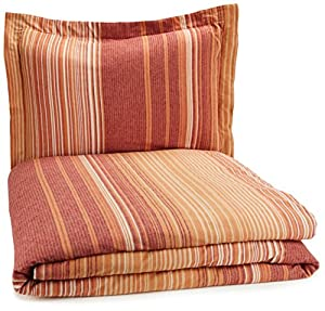 Pinzon Lightweight Cotton Flannel Duvet Set - Twin, Orange Stripe