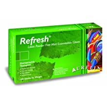 "Aurelia Refresh 9922 Latex Glove, Powder Free, 9.4"" Length, 5 mils Thick"