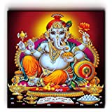 "Nish! 'Religious & Spiritual' Collection | Ganesha Art On Wood | Wall Decor Hanging Painting Indian (MDF Wood, 24""x24"", UV Cured, 1 Piece) For Living Room, Drawing Room, Temple, Mandir, Home, Gift 
