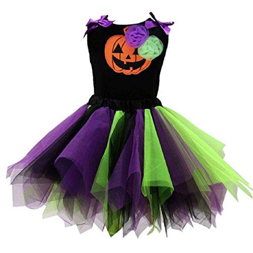 KEEPFUNNY Baby Halloween Pumpkins Pattern Vest T-shirt + Tutu Dress Sets (S, Green) (Girl Joker Halloween Costume)